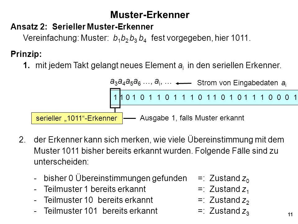 11 Muster-Erkenner Ansatz 2: Serieller Muster-Erkenner Vereinfachung: Muster: b 1 b 2 b 3 b 4 fest vorgegeben, hier 1011.