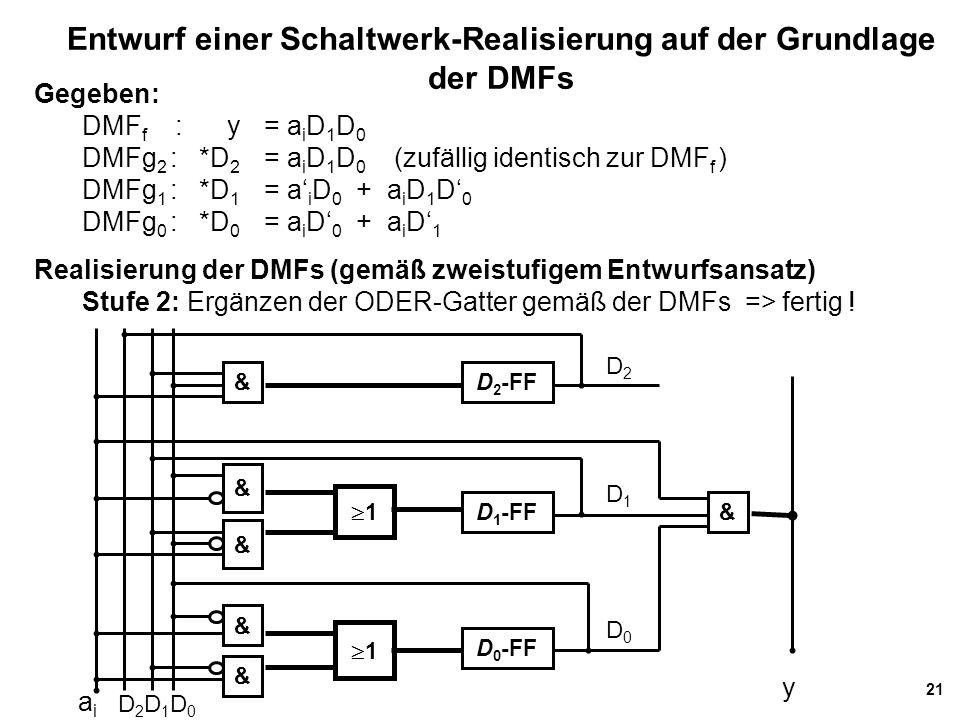 21 Entwurf einer Schaltwerk-Realisierung auf der Grundlage der DMFs Gegeben: DMF f : y= a i D 1 D 0 DMFg 2 : *D 2 = a i D 1 D 0 (zufällig identisch zur DMF f ) DMFg 1 : *D 1 = a' i D 0 + a i D 1 D' 0 DMFg 0 : *D 0 = a i D' 0 + a i D' 1 Realisierung der DMFs (gemäß zweistufigem Entwurfsansatz) Stufe 2: Ergänzen der ODER-Gatter gemäß der DMFs => fertig .