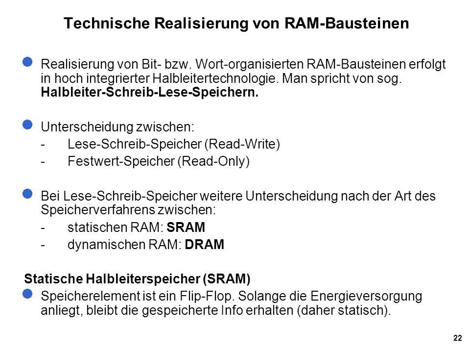22 Technische Realisierung von RAM-Bausteinen Realisierung von Bit- bzw.