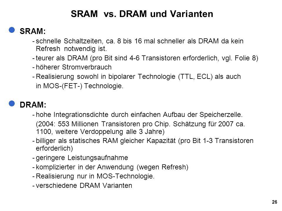 26 SRAM vs.DRAM und Varianten SRAM: -schnelle Schaltzeiten, ca.