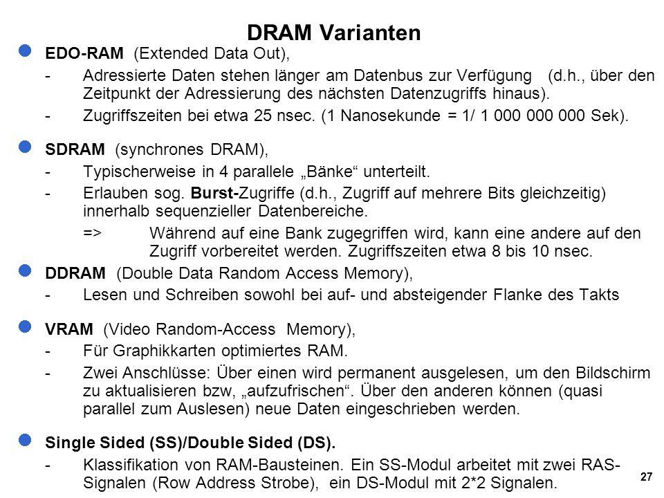 27 DRAM Varianten EDO-RAM (Extended Data Out), -Adressierte Daten stehen länger am Datenbus zur Verfügung (d.h., über den Zeitpunkt der Adressierung des nächsten Datenzugriffs hinaus).