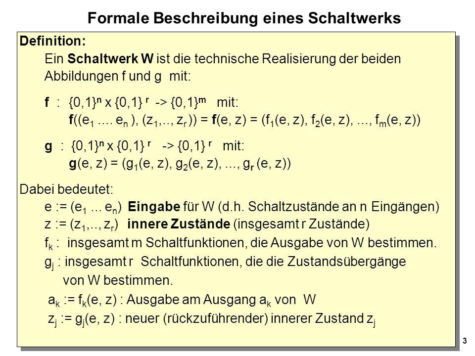 14 Serieller Muster-Erkenner Nächster Schritt: Entwurf eines Schaltwerks, das das im Zustandsübergans- Diagramm festgelegte Verhalten realisiert.