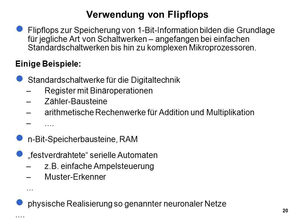 20 Verwendung von Flipflops Flipflops zur Speicherung von 1-Bit-Information bilden die Grundlage für jegliche Art von Schaltwerken – angefangen bei einfachen Standardschaltwerken bis hin zu komplexen Mikroprozessoren.