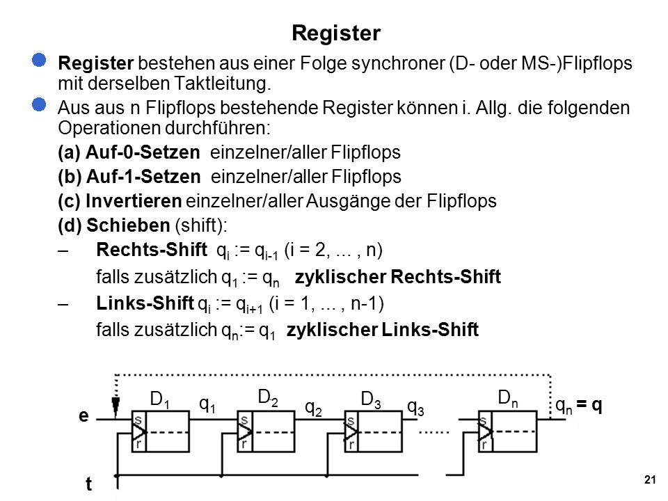 21 Register Register bestehen aus einer Folge synchroner (D- oder MS-)Flipflops mit derselben Taktleitung.