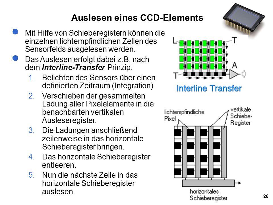 26 Auslesen eines CCD-Elements Mit Hilfe von Schieberegistern können die einzelnen lichtempfindlichen Zellen des Sensorfelds ausgelesen werden.