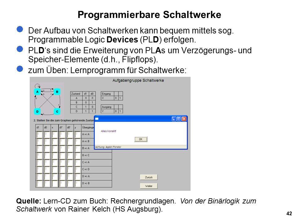 42 Programmierbare Schaltwerke Der Aufbau von Schaltwerken kann bequem mittels sog.