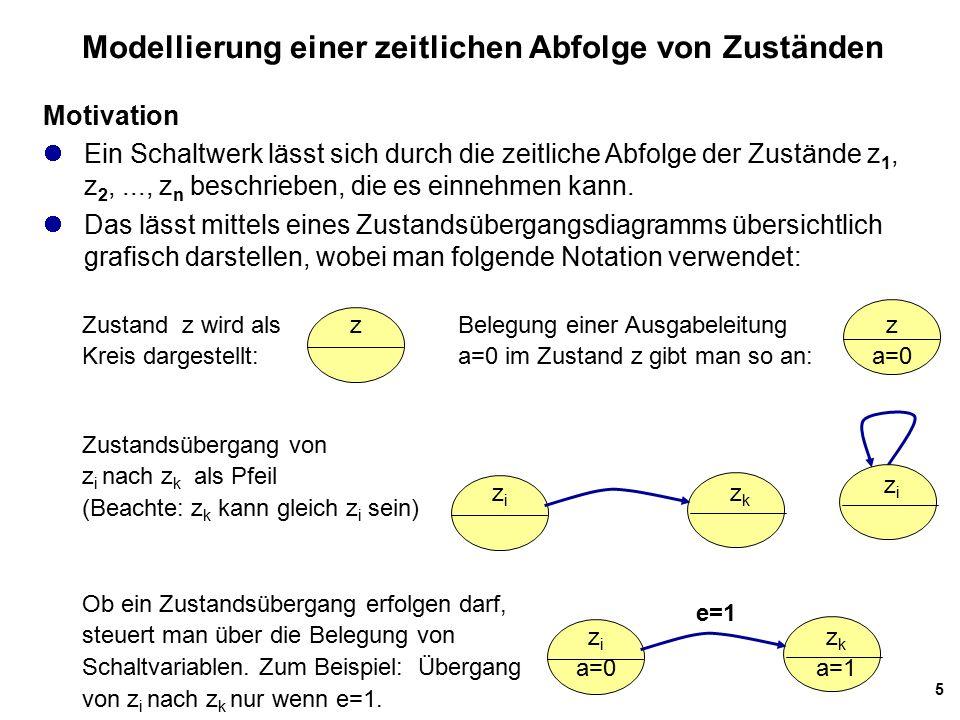 5 Modellierung einer zeitlichen Abfolge von Zuständen Motivation Ein Schaltwerk lässt sich durch die zeitliche Abfolge der Zustände z 1, z 2,..., z n beschrieben, die es einnehmen kann.