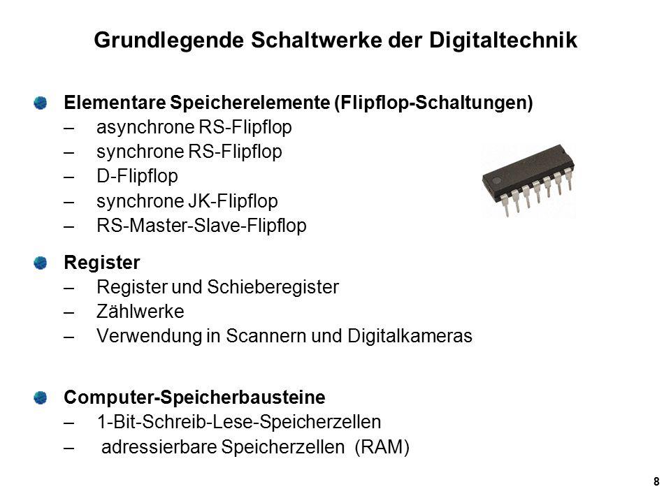 8 Grundlegende Schaltwerke der Digitaltechnik Elementare Speicherelemente (Flipflop-Schaltungen) – asynchrone RS-Flipflop – synchrone RS-Flipflop – D-Flipflop – synchrone JK-Flipflop – RS-Master-Slave-Flipflop Register – Register und Schieberegister – Zählwerke – Verwendung in Scannern und Digitalkameras Computer-Speicherbausteine – 1-Bit-Schreib-Lese-Speicherzellen – adressierbare Speicherzellen (RAM)