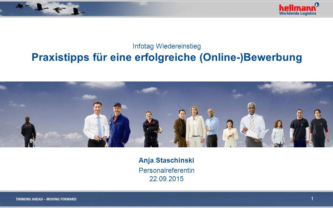 Infotag Wiedereinstieg Praxistipps für eine erfolgreiche (Online-)Bewerbung Anja Staschinski Personalreferentin 22.09.2015 1