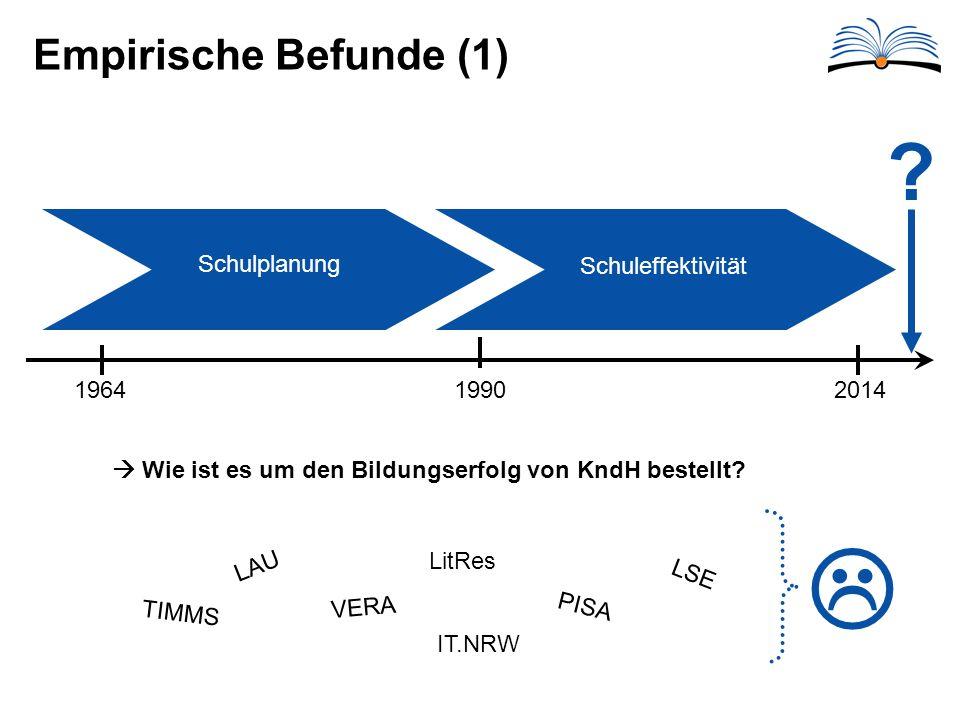 Empirische Befunde (1) 1964 1990 2014 Schulplanung Schuleffektivität .