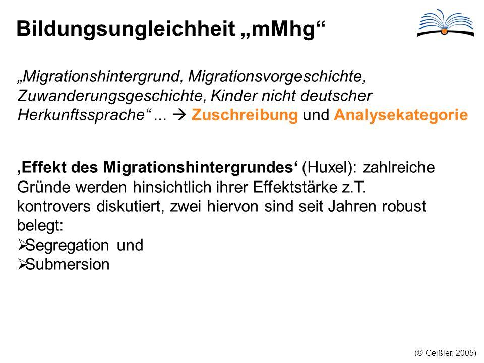 """Bildungsungleichheit """"mMhg (© Geißler, 2005) """"Migrationshintergrund, Migrationsvorgeschichte, Zuwanderungsgeschichte, Kinder nicht deutscher Herkunftssprache ..."""