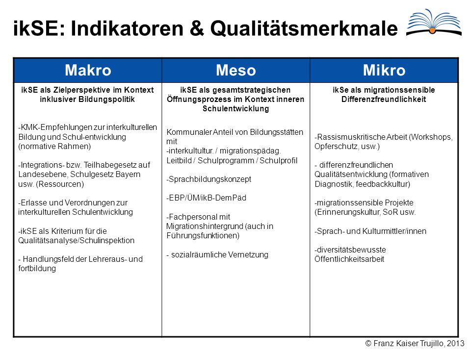 ikSE: Indikatoren & Qualitätsmerkmale © Franz Kaiser Trujillo, 2013 MakroMesoMikro ikSE als Zielperspektive im Kontext inklusiver Bildungspolitik -KMK-Empfehlungen zur interkulturellen Bildung und Schul-entwicklung (normative Rahmen) -Integrations- bzw.