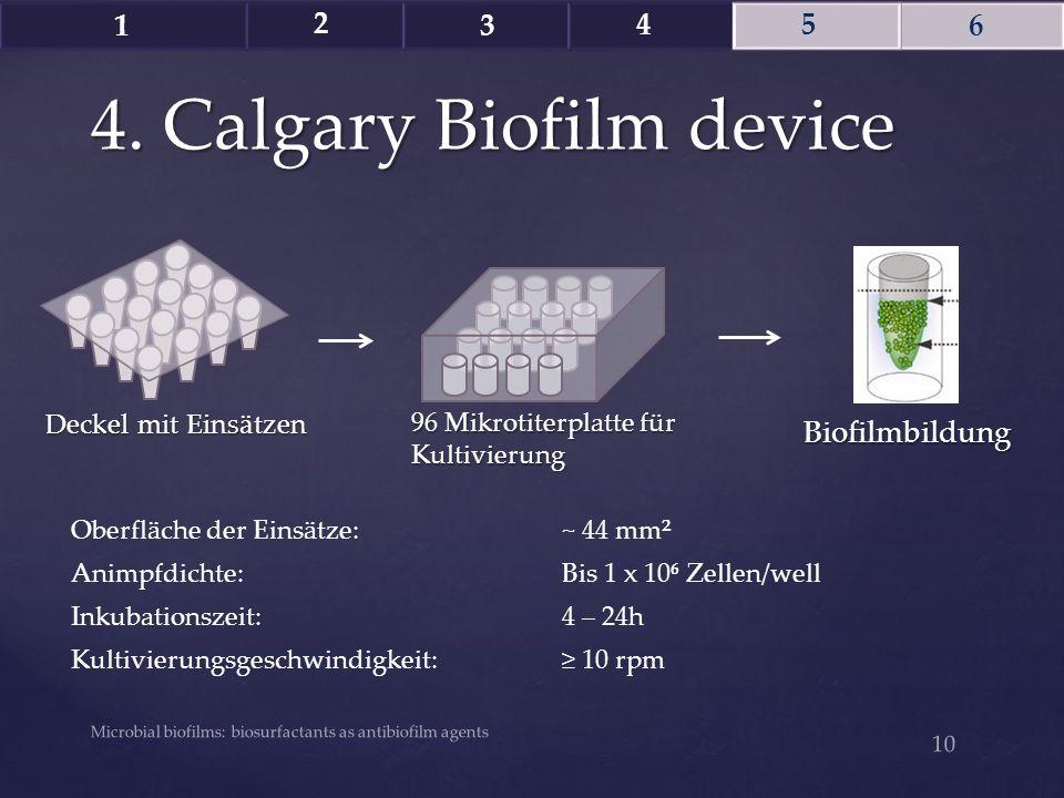 4. Calgary Biofilm device Microbial biofilms: biosurfactants as antibiofilm agents 10 1 2 3 4 5 6 96 Mikrotiterplatte für Kultivierung Deckel mit Eins