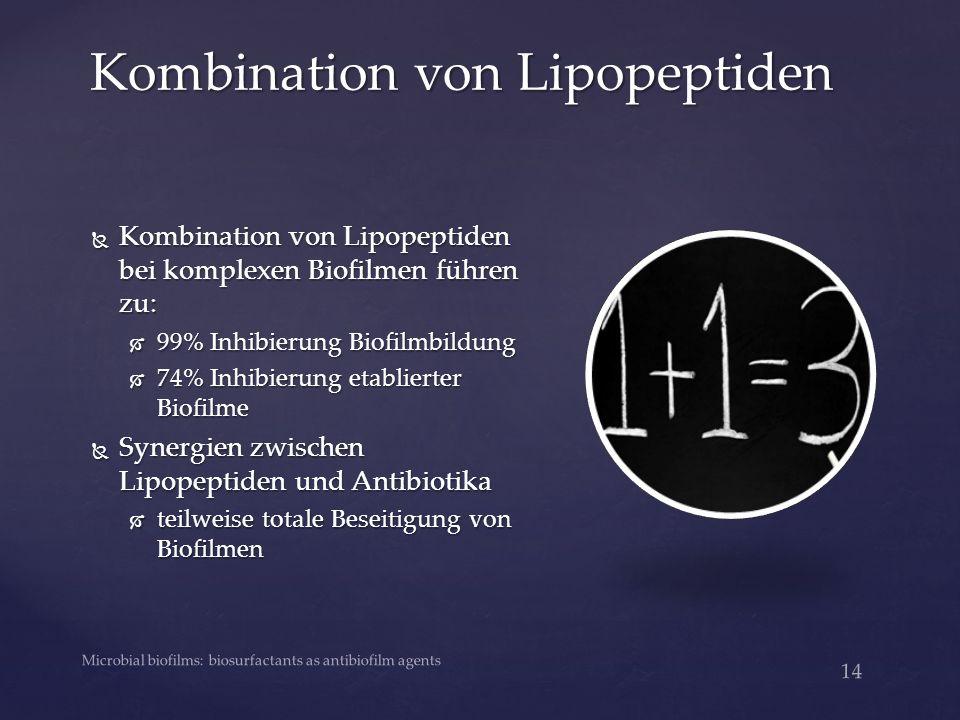 Kombination von Lipopeptiden 14 Microbial biofilms: biosurfactants as antibiofilm agents  Kombination von Lipopeptiden bei komplexen Biofilmen führen