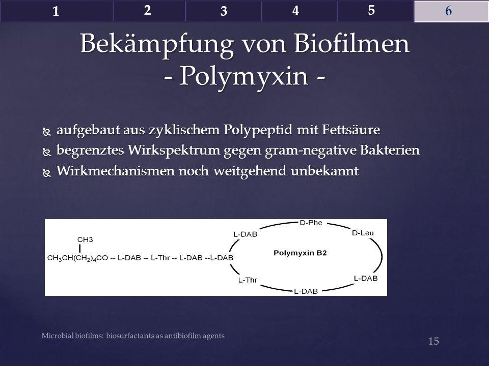  aufgebaut aus zyklischem Polypeptid mit Fettsäure  begrenztes Wirkspektrum gegen gram-negative Bakterien  Wirkmechanismen noch weitgehend unbekann