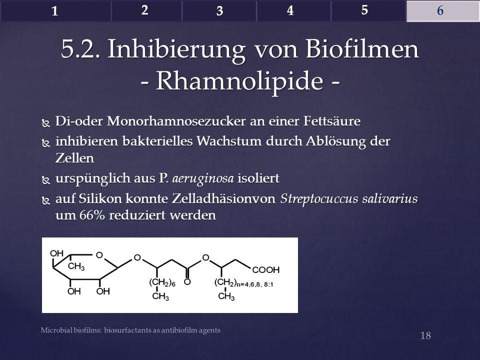  Di-oder Monorhamnosezucker an einer Fettsäure  inhibieren bakterielles Wachstum durch Ablösung der Zellen  urspünglich aus P. aeruginosa isoliert