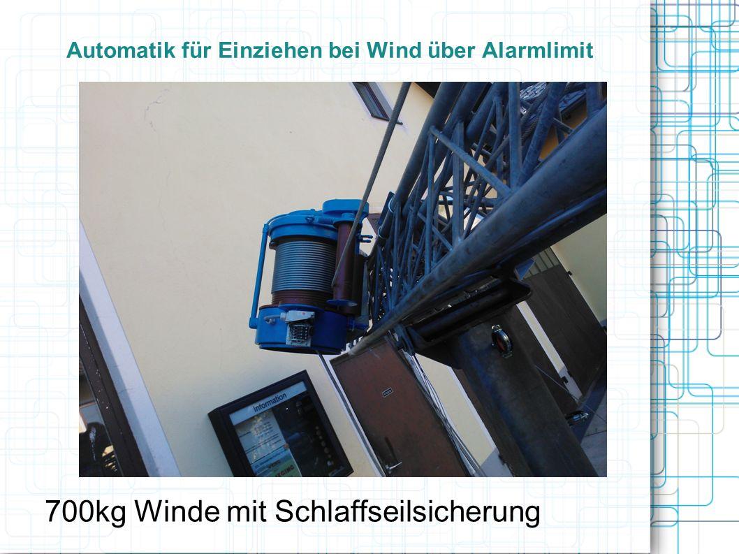 Automatik für Einziehen bei Wind über Alarmlimit 700kg Winde mit Schlaffseilsicherung