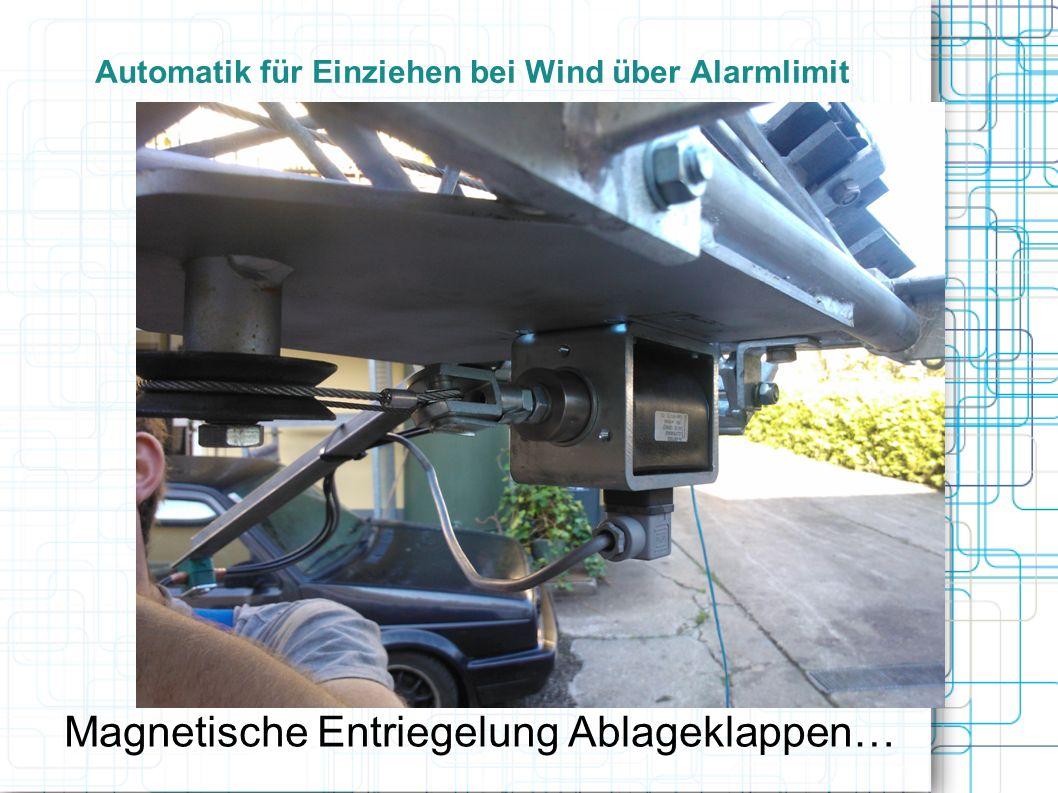 Automatik für Einziehen bei Wind über Alarmlimit Magnetische Entriegelung Ablageklappen…
