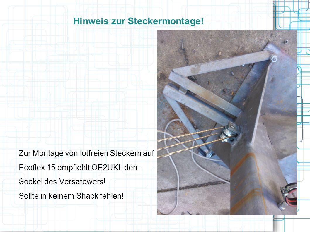 Hinweis zur Steckermontage.