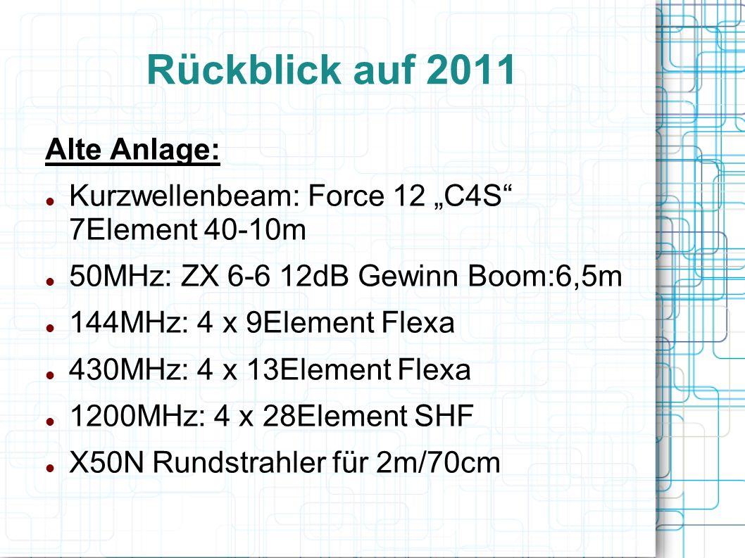 """Rückblick auf 2011 Alte Anlage: Kurzwellenbeam: Force 12 """"C4S 7Element 40-10m 50MHz: ZX 6-6 12dB Gewinn Boom:6,5m 144MHz: 4 x 9Element Flexa 430MHz: 4 x 13Element Flexa 1200MHz: 4 x 28Element SHF X50N Rundstrahler für 2m/70cm"""