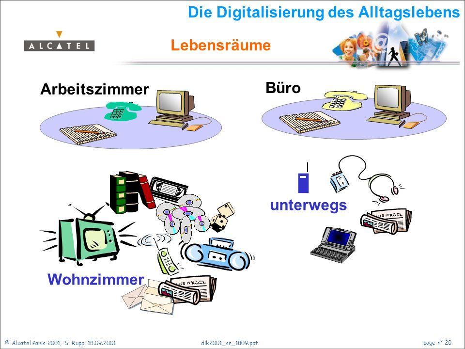 © Alcatel Paris 2001, S. Rupp, 18.09.2001 page n° 19 dik2001_sr_1809.ppt Zukunft der Netze Einführung Ein Blick zurück Telekommunikationsnetze Verände