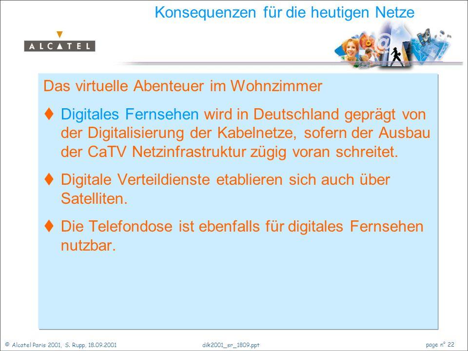 © Alcatel Paris 2001, S. Rupp, 18.09.2001 page n° 21 dik2001_sr_1809.ppt Zukunft der Netze Einführung Ein Blick zurück Telekommunikationsnetze Verände