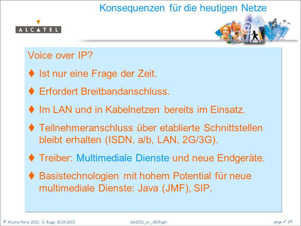 © Alcatel Paris 2001, S. Rupp, 18.09.2001 page n° 23 dik2001_sr_1809.ppt Kommunikationsmedium Internet  Internet = WWW + e-mail.  Popularität beweis