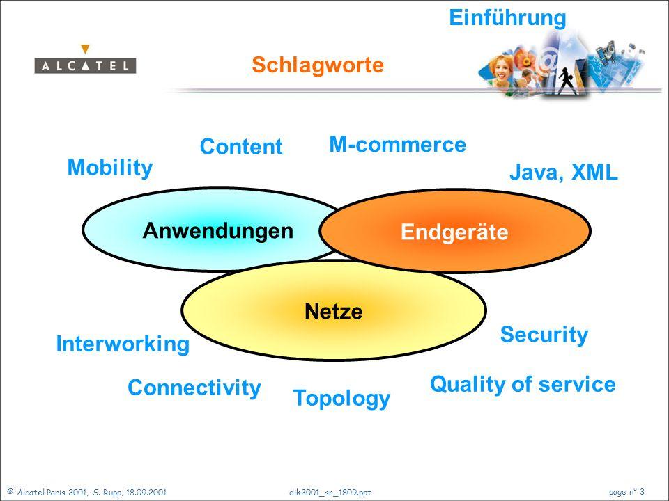 © Alcatel Paris 2001, S. Rupp, 18.09.2001 page n° 2 dik2001_sr_1809.ppt Zukunft der Netze Einführung Ein Blick zurück Telekommunikationsnetze Veränder