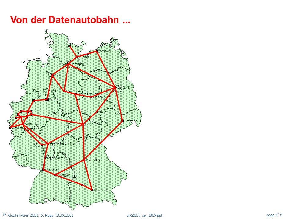 © Alcatel Paris 2001, S. Rupp, 18.09.2001 page n° 7 dik2001_sr_1809.ppt Zukunft der Netze Einführung Ein Blick zurück Telekommunikationsnetze Veränder
