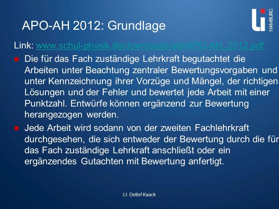 APO-AH 2012: Grundlage Link: www.schul-physik.de/downloads/abi/APO-AH_2012.pdfwww.schul-physik.de/downloads/abi/APO-AH_2012.pdf Die für das Fach zustä