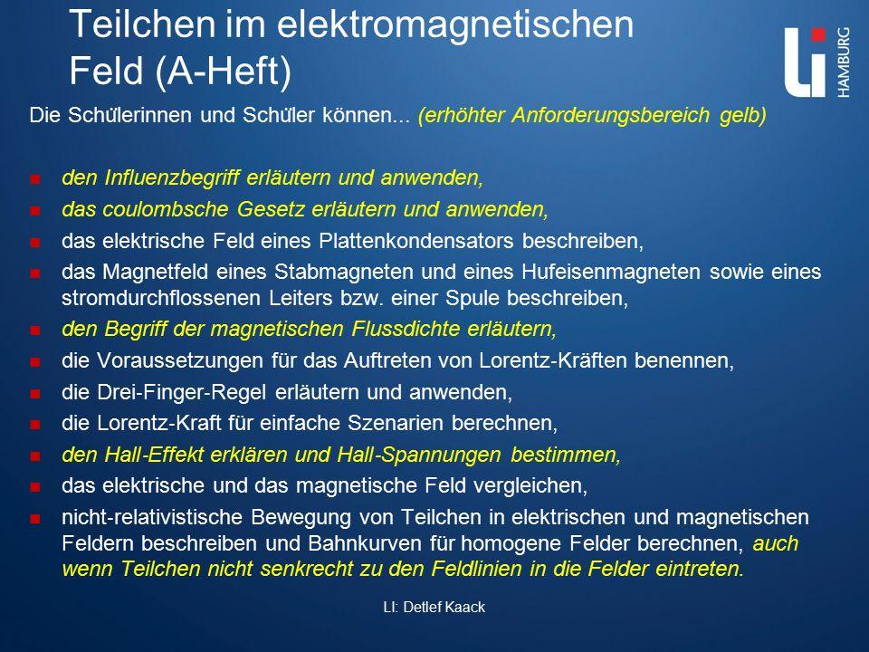 Teilchen im elektromagnetischen Feld (A-Heft) Die Schu ̈ lerinnen und Schu ̈ ler können... (erhöhter Anforderungsbereich gelb) den Influenzbegriff erl