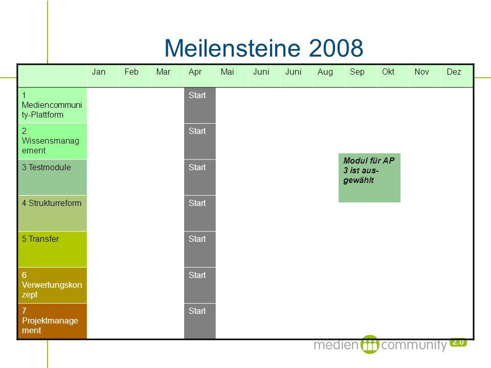 Meilensteine 2008 JanFebMarAprMaiJuni AugSepOktNovDez 1 Mediencommuni ty-Plattform Start 2 Wissensmanag ement Start 3 TestmoduleStart 4 Strukturreform