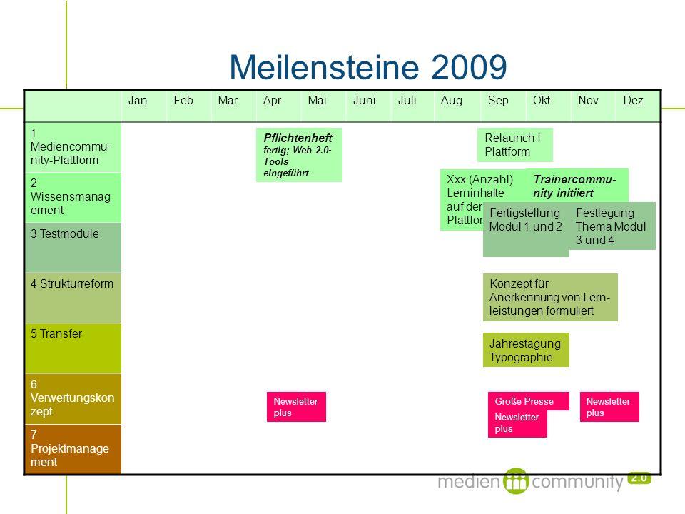 Meilensteine 2009 JanFebMarAprMaiJuniJuliAugSepOktNovDez 1 Mediencommu- nity-Plattform 2 Wissensmanag ement 3 Testmodule 4 Strukturreform 5 Transfer 6