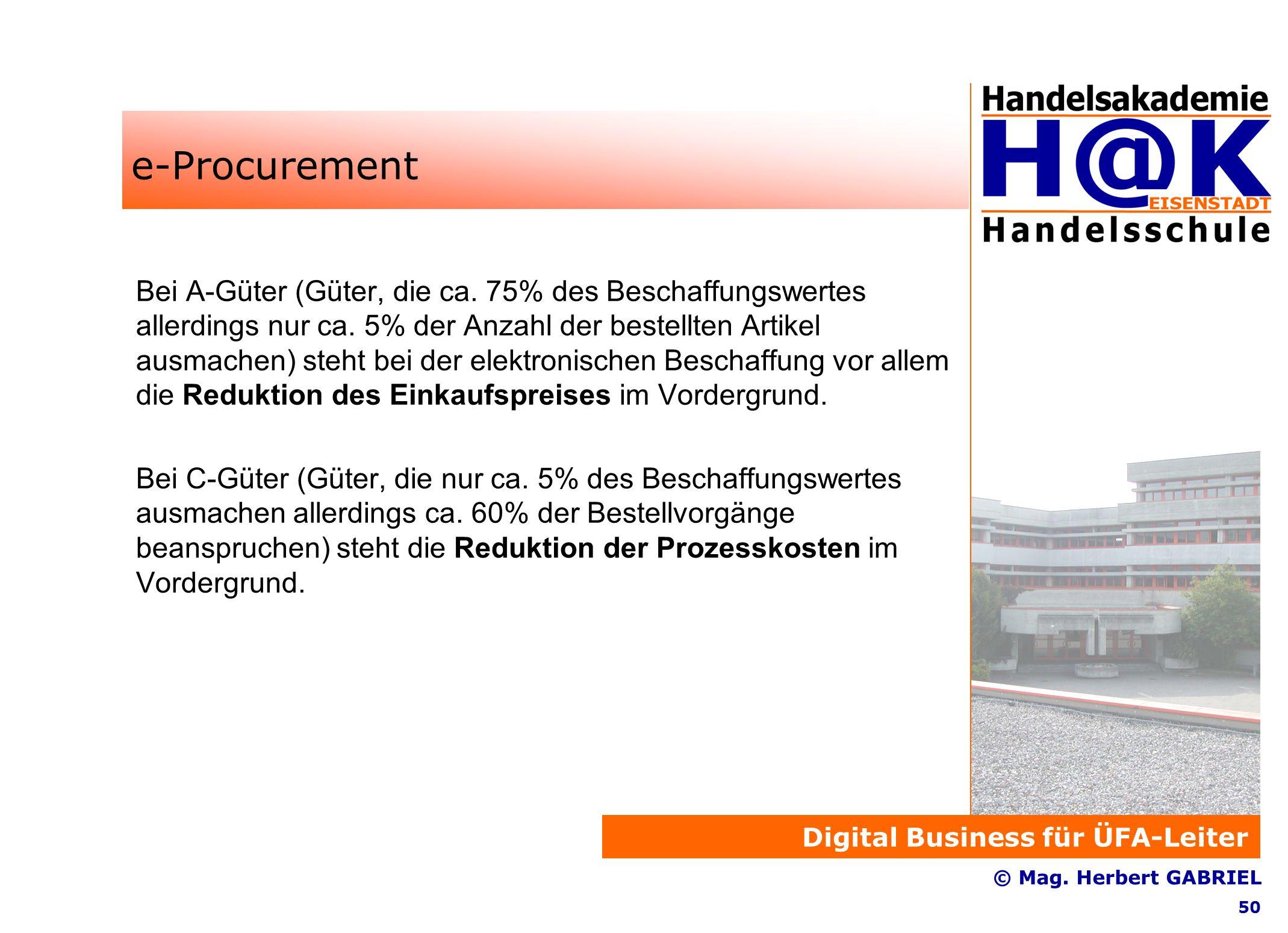 Digital Business für ÜFA-Leiter © Mag. Herbert GABRIEL 50 e-Procurement Bei A-Güter (Güter, die ca.