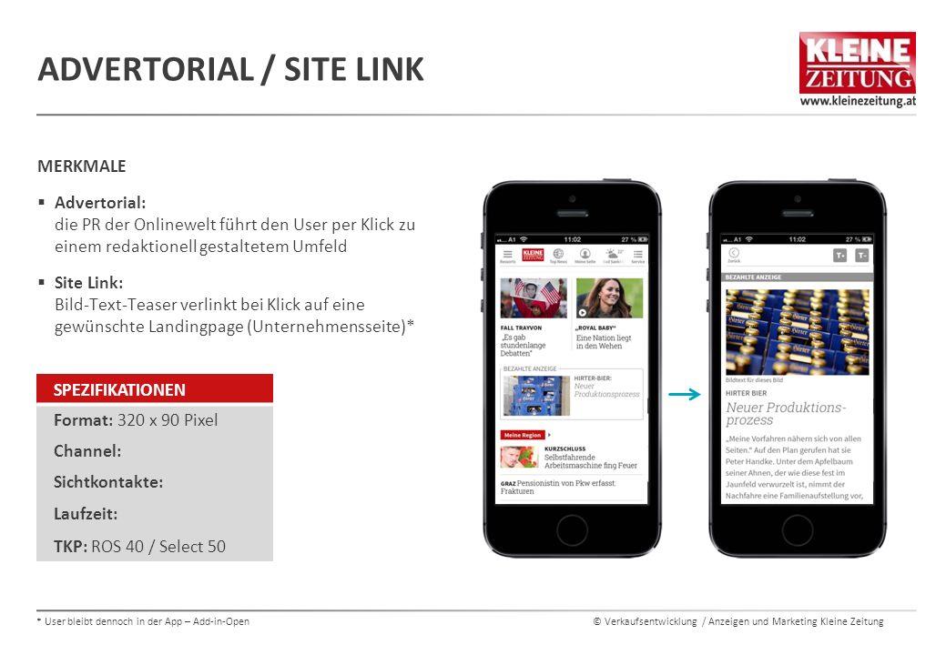© Verkaufsentwicklung / Anzeigen und Marketing Kleine Zeitung MERKMALE  Advertorial: die PR der Onlinewelt führt den User per Klick zu einem redaktio