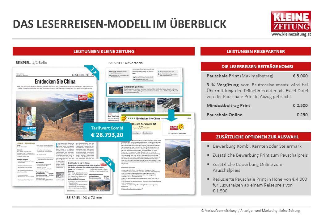 © Verkaufsentwicklung / Anzeigen und Marketing Kleine Zeitung DAS LESERREISEN-MODELL IM ÜBERBLICK BEISPIEL: 1/1 Seite LEISTUNGEN KLEINE ZEITUNG 1 x 2