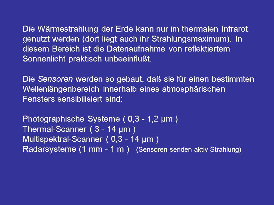 Die Wärmestrahlung der Erde kann nur im thermalen Infrarot genutzt werden (dort liegt auch ihr Strahlungsmaximum).