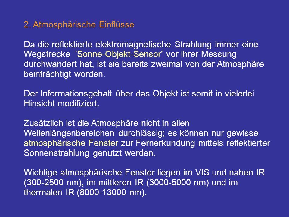 2. Atmosphärische Einflüsse Da die reflektierte elektromagnetische Strahlung immer eine Wegstrecke 'Sonne-Objekt-Sensor' vor ihrer Messung durchwander