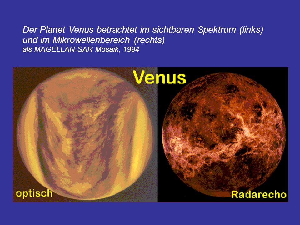 Der Planet Venus betrachtet im sichtbaren Spektrum (links) und im Mikrowellenbereich (rechts) als MAGELLAN-SAR Mosaik, 1994