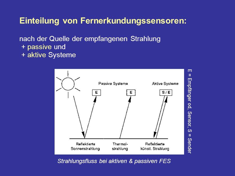 Einteilung von Fernerkundungssensoren: nach der Quelle der empfangenen Strahlung + passive und + aktive Systeme E = Empfänger od, Sensor, S = Sender Strahlungsfluss bei aktiven & passiven FES