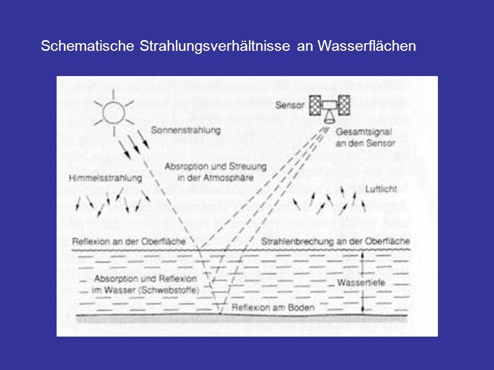 Schematische Strahlungsverhältnisse an Wasserflächen