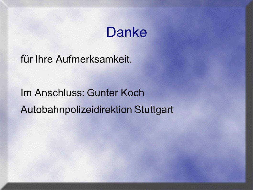Danke für Ihre Aufmerksamkeit. Im Anschluss: Gunter Koch Autobahnpolizeidirektion Stuttgart