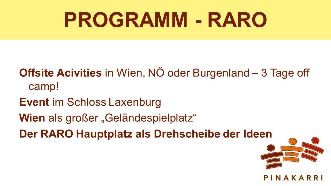 PROGRAMM - RARO Offsite Acivities in Wien, NÖ oder Burgenland – 3 Tage off camp.