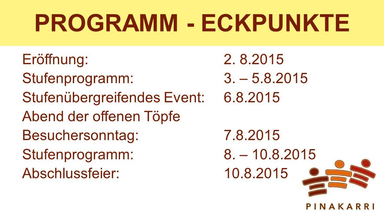 PROGRAMM - ECKPUNKTE Eröffnung: 2.8.2015 Stufenprogramm: 3.