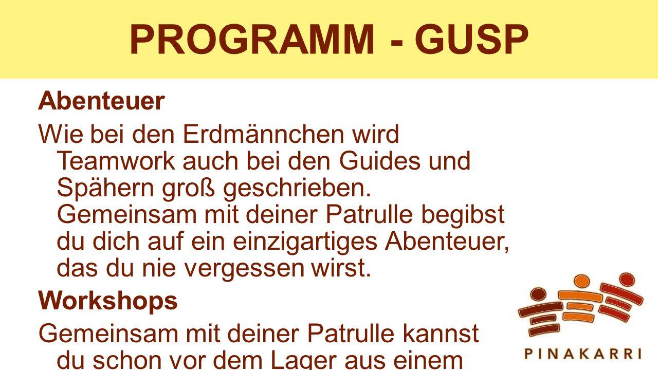 PROGRAMM - GUSP Abenteuer Wie bei den Erdmännchen wird Teamwork auch bei den Guides und Spähern groß geschrieben.