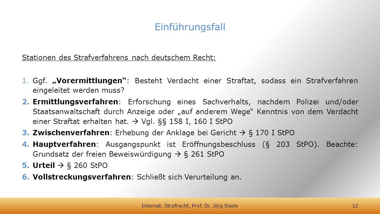 """Stationen des Strafverfahrens nach deutschem Recht: 1.Ggf. """"Vorermittlungen"""": Besteht Verdacht einer Straftat, sodass ein Strafverfahren eingeleitet w"""
