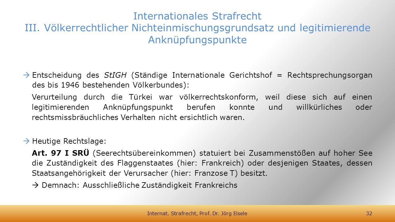 Entscheidung des StIGH (Ständige Internationale Gerichtshof = Rechtsprechungsorgan des bis 1946 bestehenden Völkerbundes): Verurteilung durch die Tü