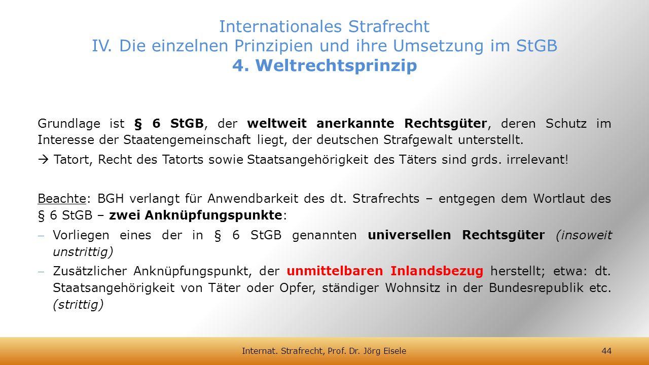 Grundlage ist § 6 StGB, der weltweit anerkannte Rechtsgüter, deren Schutz im Interesse der Staatengemeinschaft liegt, der deutschen Strafgewalt unters