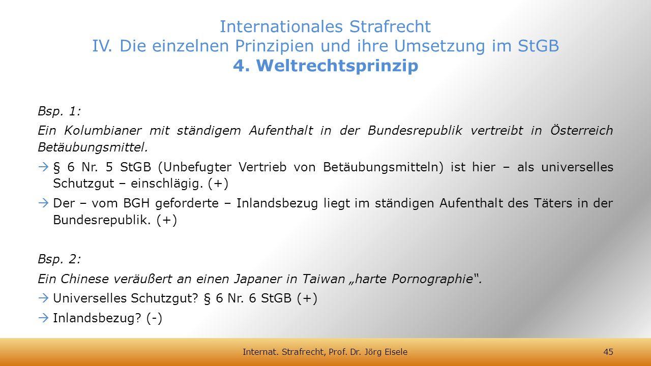Bsp. 1: Ein Kolumbianer mit ständigem Aufenthalt in der Bundesrepublik vertreibt in Österreich Betäubungsmittel.  § 6 Nr. 5 StGB (Unbefugter Vertrieb