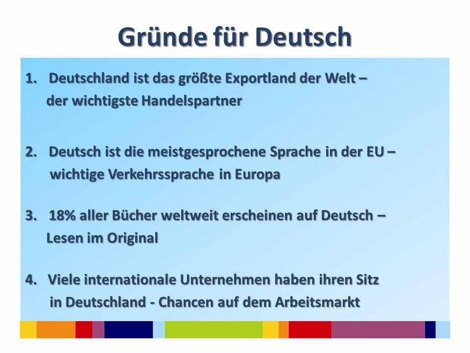 Gründe für Deutsch 1.Deutschland ist das größte Exportland der Welt – der wichtigste Handelspartner der wichtigste Handelspartner 2.Deutsch ist die me